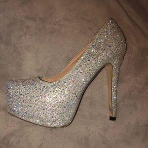 Diamond silver heels